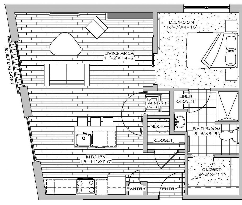 1 Bedroom, 1 Bath, 646 sq. ft.