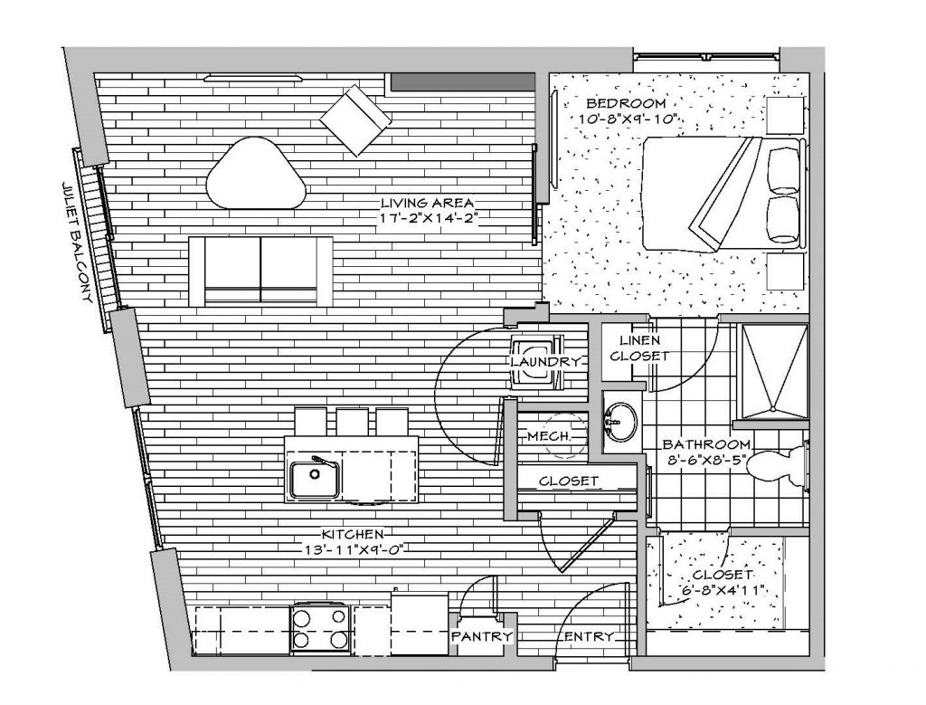 1 Bedroom, 1 Bath (with Juliet Balcony), 652 sq. ft.
