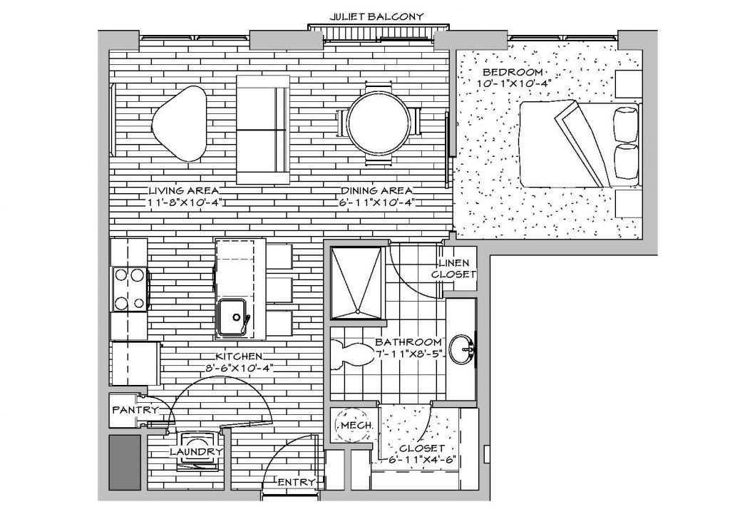 1 Bedroom, 1 Bath, 567 sq. ft.