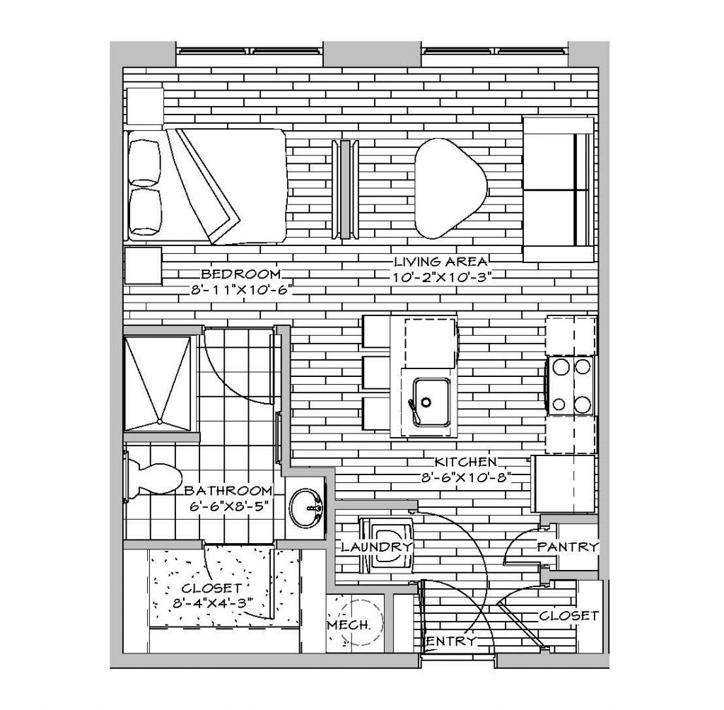 Studio, 1 Bath, 463 sq. ft.