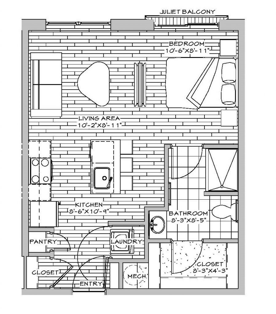 Studio, 1 Bath, (with Juliet Balcony) 463 sq. ft.