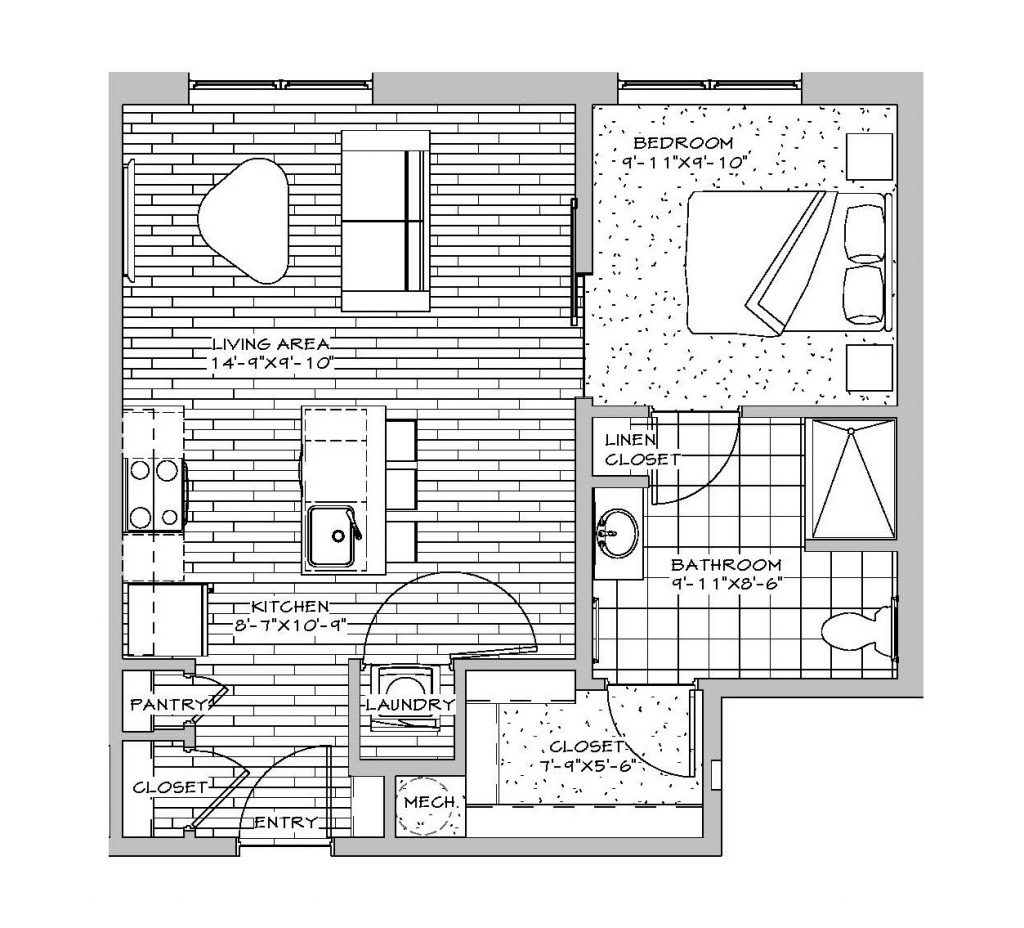 Studio, 1 Bath, 571 sq. ft.