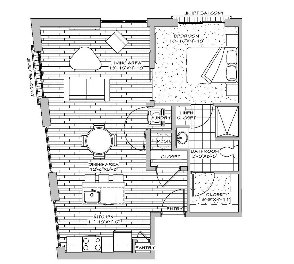 1 Bedroom, 1 Bath (with 2 Juliet Balconies) 626 sq. ft.
